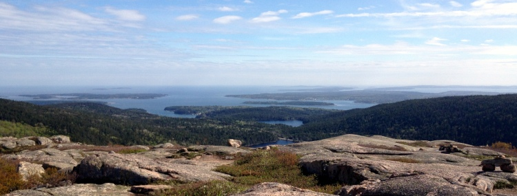 Upper and Lower Hadlock Ponds from the top of Bald Peak, Acadia.