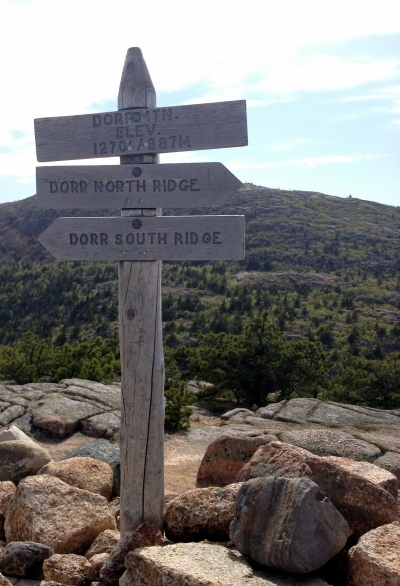 Summit marker, Dorr Mountain, Acadia.
