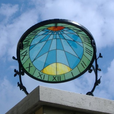 Raised stained-glass sundial in Budapest.