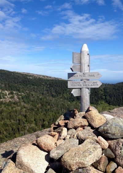 Summit marker at the top of Bald Peak, Acadia.
