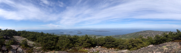 View of Frenchman Bay from Dorr Mountain, Acadia.