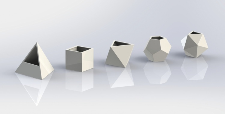 3-D model of the Platonic solids, each with equal volume.