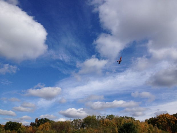 DeHavilland Tiger Moth in flight above Old Rhinebeck Aerodrome