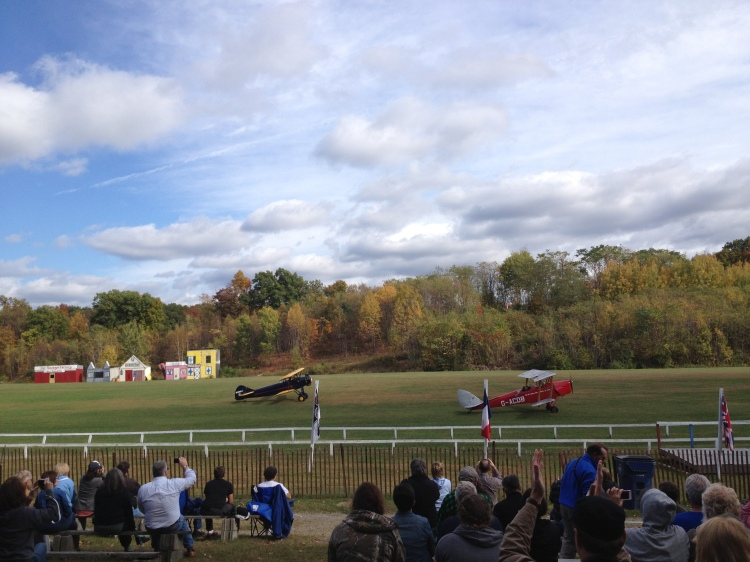 DeHavilland Tiger Moth and Fleet Finch taxiing down the field.
