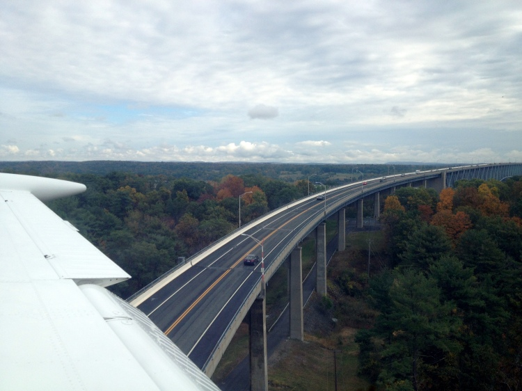 Flyby of an overpass en route to Kingston-Ulster Airport.
