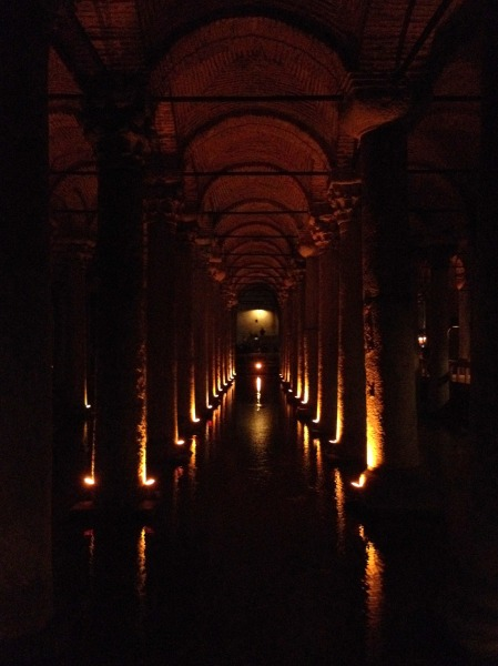 The columns of the Basilica Cistern in Istanbul.