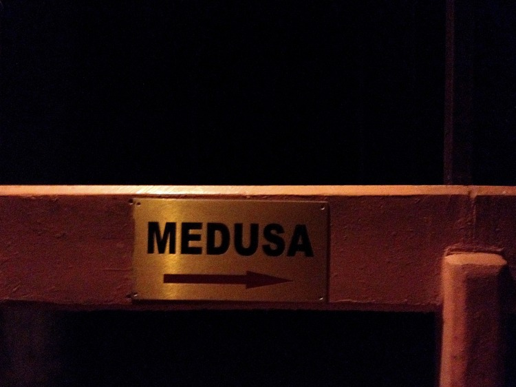 Sign in the Basilica Cistern pointing the way toward the Medusa columns.