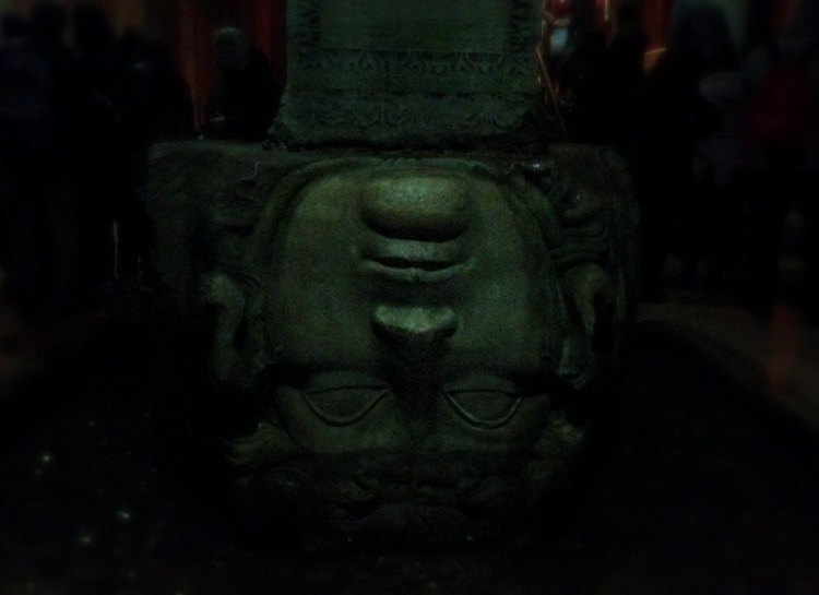 The upside-down Medusa head at the back of the Basilica Cistern.